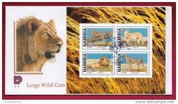 NAMIBIA, 1998, First Day Cover, Large Wild Cats, Min Sheet,Michel 3-02, F3904 - Namibië (1990- ...)