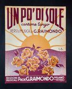 Musica Spartiti - Un Pò Di Sole - Canzone Tango - G. Raimondo - 1938 C.a - Old Paper