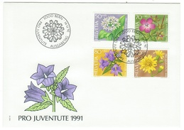Suisse // Schweiz // Switzerland //  Pro-Juventute  // 1991 Série Complète Sur Lettre 1er Jour - Pro Juventute