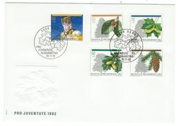 Suisse // Schweiz // Switzerland //  Pro-Juventute  // 1992 Série Complète Sur Lettre 1er Jour - Lettres & Documents