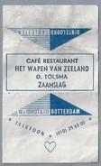 Suikerwikkel.- Embalage De Sucre. ZAAMSLAG. Café Restaurant - HET WAPEN VAN ZEELAND -. D. Tolsma. - Suiker