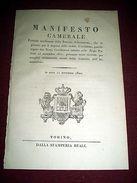 Regno Di Sardegna Torino Manifesto Camerale Trapasso Delle Cedole 1820 - Vecchi Documenti