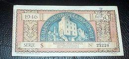 Biglietto Lotteria Solidarietà Nazionale 1946 - Lottery Tickets