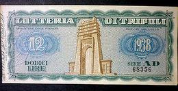 Biglietto Lotteria Di Tripoli - 1938 - Billetes De Lotería