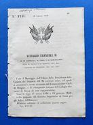 Regno Di Sardegna - Regio Decreto Convocazione Elettorato Di Duing - 1859 - Documentos Antiguos