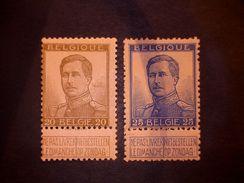 COB/OBP 119/120 - XX - 20c / 25c Olive / Olijf - Bleu / Blauw - 1912 Pellens