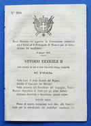 Regno D'Italia Regio Decreto Estradizione Tra Italia E Principato Di Monaco 1866 - Old Paper