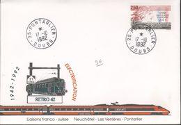 Cinquantenaire Electrification Liaison Franco-Suisse Neuchatel - Les Verrières Pontarlier - Marcophilie (Lettres)
