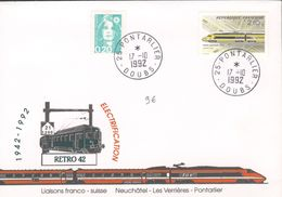 Cinquantenaire Electrification Liaison Franco-Suisse Neuchatel - Les Verrières Pontarlier - TGV Postal - Marcophilie (Lettres)