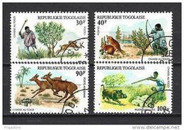 Togo Animaux Chasse (128) Série Complète De 4 Timbres Oblitérés Yv 843+844 Et PA 252+253 - Togo (1960-...)