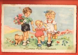 MIU-27  Luce André Andrée, Bonne Fête Maman, 3 Enfants Et Chien Avec Cadeaux. Circulé Sous Enveloppe En 1948 Petit Pli - Día De La Madre