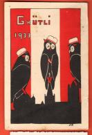 MIU-28 Studentenkarte Zofingen Grütli 1933, Litho, Gelaufen Nach England In 1934, Petit Trou épingle,angles Fatigués - AG Argovie