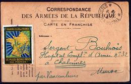 CARTE DE FRANCHISE MILITAIRE AVEC VIGNETTE TOURISTIQUE DU TOURING CLUB DE FRANCE - Marcophilie (Lettres)