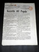 Risorgimento Cavour Torino - Giornale Gazzetta Del Popolo N° 308 Del 1854 - Non Classificati
