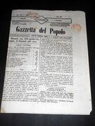 Risorgimento Cavour Torino - Giornale Gazzetta Del Popolo N° 215 Del 1854 - Non Classificati