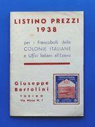 Filatelia - Francobolli Delle Colonie Italiane - Listino Prezzi Bertolini 1938 - Catálogos De Cotización