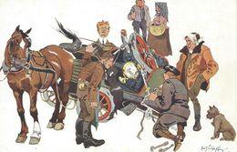 Humour C P A Autrichienne  Accident - Réf. B. K.W.I. 574 - 4 Signée Fritz Schoenpflug Caricature Américain, Russe... - Schoenpflug, Fritz