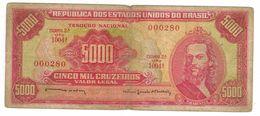 Brazil,  5000 Cruzeiros, P-182b. VG. - Brazilië