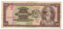 Brazil,  10 Cz. Novos On 10000 Cruzeiros, P-190a. VF. - Brazil