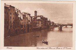 285 - FIRENZE UNA VEDUTA DELL ARNO COL PONTE S TRINITA' ANIMATA 1920 CIRCA - Firenze