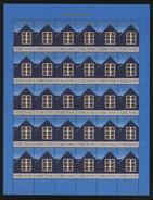 Faroe Islands. Christmas Seal 1980 Full Sheet. Unfolded.  Window With Light - Denmark