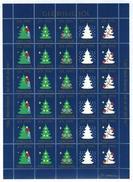 Faroe Islands Christmas Seal 1990 Full Sheet  Unfolded. Christmas Tree. - Denmark
