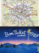 PLAN RESEAU  RATP  M RER Bon Ticket 1987 - Europe