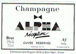 CHAMPAGNE ALPHA  RECEPTION  CUVEE RESERVEE  LE BLANC MESNIL   A AY     **** RARE  A   SAISIR  **** - Champagne