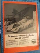 DIV415 : Clipping CADEAUX  PUBLICITAIRES  GULF PORSCHE 917  -  Pour  Collectionneurs ... PUBLICITE  Page De Revue Des An - Collectors Et Insolites - Toutes Marques