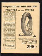 """Dépliant 1926 Pneus Dunlop,Pirelli Neuf """" Ets Auto Accessoires """" Paris 17 - Advertising"""