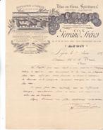 69 Lyon, Ferrand Frères Distillerie à Vapeur,Vins En Gros. 15 17 19 21 Rue Ney. Lettrede 1895 Très Illustrée. Tb état. - France