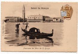 Venise : Saluti Da Venezia, Panorama Des Molo Da S. Giorgio (Editeur C. Naya) - Venezia (Venice)