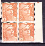 N° 808 Marianne De Gandon Beau Bloc De 4  Timbres  Neuf Impeccable - France