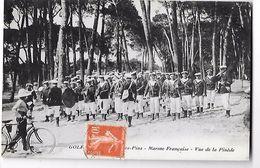 06 - GOLFE JUAN - JUAN LES PINS - MARINE FRANCAISE  -vue De La Pinède - MUSIQUE MILITAIRE - TAMBOUR Phot.BIONDO 1914 - Autres Communes