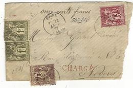 1877- Petite Enveloppe CHARGE V D 1100 F. Affr. N°72 X 2  /+n°67  + 71 - Marcophilie (Lettres)