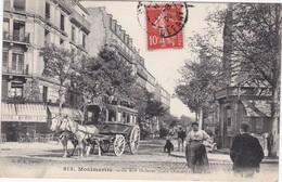 PARIS - Montmartre - La Rue Ordener (Coin Ornano, Côté Est) - Omnibus à Deux Chevaux - TBE - Transport Urbain En Surface