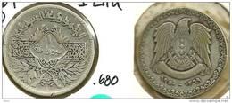 SYRIA FRANCAISE 1 LIVRE INSCRIPTIONS  FRONT & EAGLE BACK 1950-1369 AG SILVER VF KM85 READ DESCRIPTION CAREFULLY !!! - Syrie