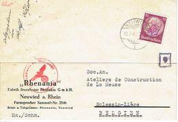 "ALLEMAGNE CP Publ. 1940 ""RHENANIA"" Ayant Circulé De NEUWIED à SLESSIN-LIEGE - Geprüft Oberkommandantur Der Wehrmacht - WW II"