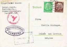 ALLEMAGNE CP Publ. 1940 SCHEMMANN & FORSTMANN De HAMBURG à CHENEE (BELGIQUE) - Geprüft Oberkommandando Der Wehrmacht - WW II