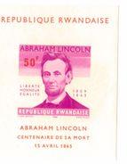 10 X  BLOCKS Rwanda Imperforate Block MNH 1965 100 Years For President Abraham Lincoln Very High Cat Value - Rwanda