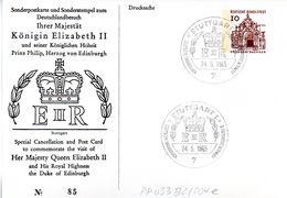 "BRD Privatganzs.-Postkarte ""Deutschlandbesuch Königin Elizabeth II"" SST 24.5.1965 Stuttgart 1 - [7] République Fédérale"