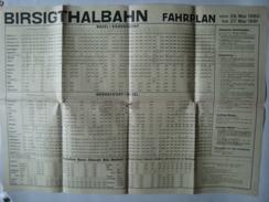 BIRSIGTHALBAHN FAHRPLAN. BASEL-RODERSDORF / RODERSDORF-BASEL - SCHWEIZ, SWITZERLAND, 1960/61. - Ferrovie