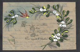 CPA FANTAISIE CELLULOID CELLULOIDE - DOREE OR - Art Nouveau - Peinte à La Main - Bel Oiseau Branche De Gui - Voeux -#549 - Nouvel An