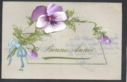 CPA FANTAISIE CELLULOID CELLULOIDE Art Nouveau Art Déco - Peinte à La Main - Jolies Fleurs Ruban Bonne Année-#550 - Nouvel An