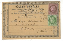 1870- C P Précurseur  De PARIS R. D'Amsterdam Affr. N°53 + 58   étoile 18 Peu Lisible - 1849-1876: Classic Period