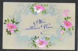 CPA FANTAISIE CELLULOID CELLULOIDE - Art Nouveau Art Déco - Peinte à La Main - Jolies Fleurs Roses - Voeux -#552 - Nouvel An
