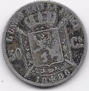 Belgique - 50 Centimes 1886 - Argent - 06. 50 Centimes