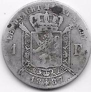 Belgique - 1 Franc 1887 - Argent - 1865-1909: Leopold II