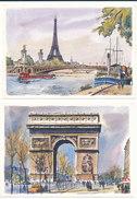 Lot De 12 Cartes De Paris - Peintures De Alfau - Editions Krisarts - Lotes Y Colecciones