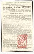 DP Oorlogsslachtoffer WO II 40-45 Maurice A. DeWulf / Clement ° Kortemark BE † Sonsbeck DE - Devotion Images